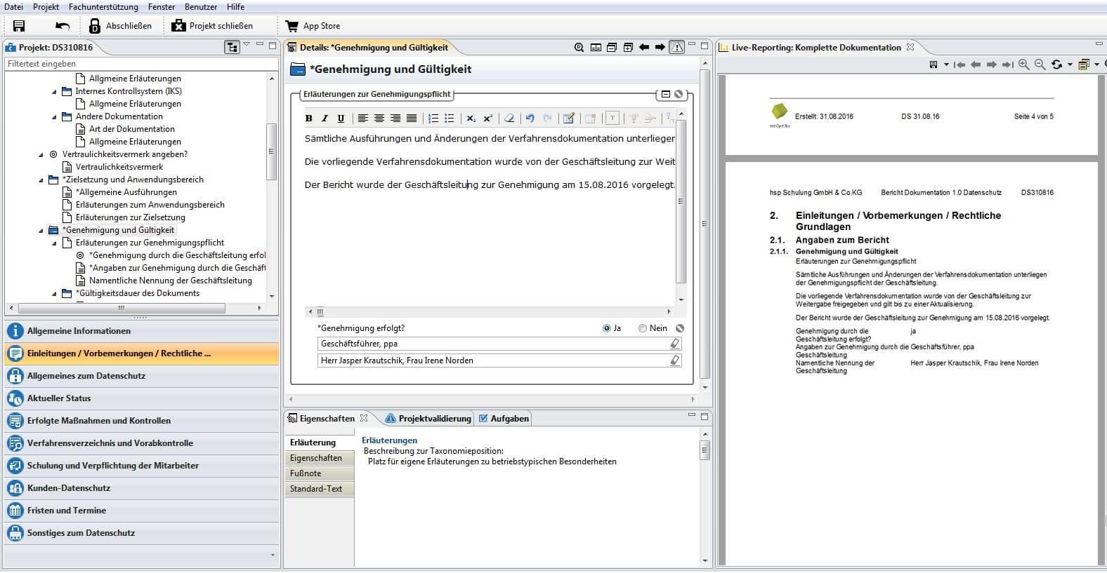 Datenschutz Projekt Mit Mustertext Und Berichtslayout Hsp Handels