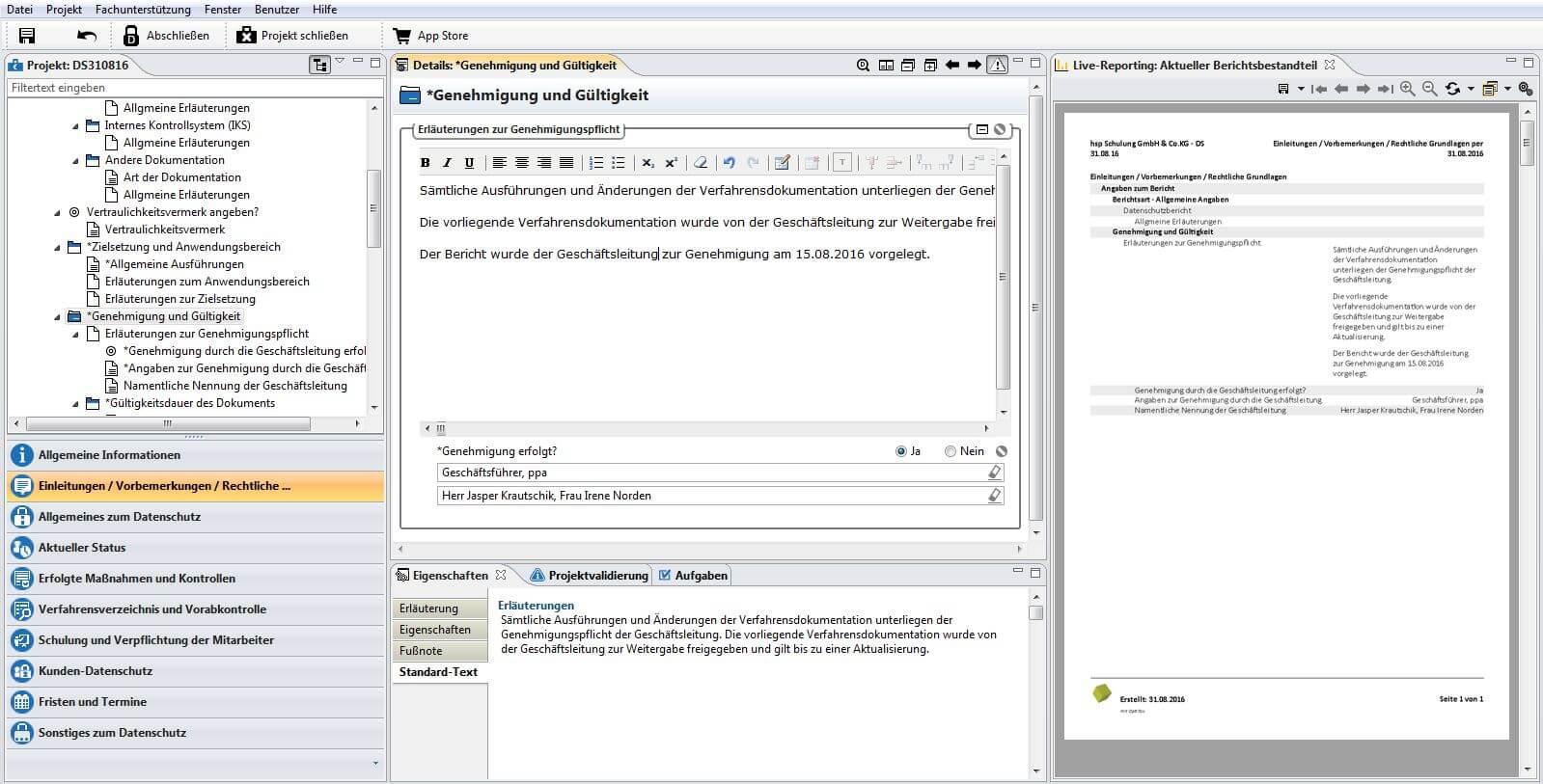 Datenschutz Projekt Mit Mustertext Und Aktuellem Berichtsbestandteil