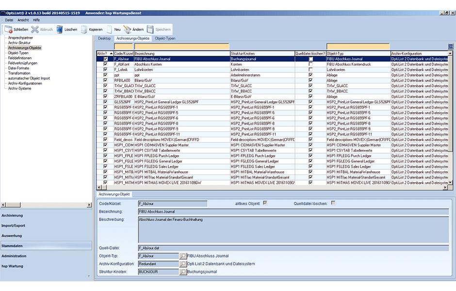 Opti.List-Datenarchivierung