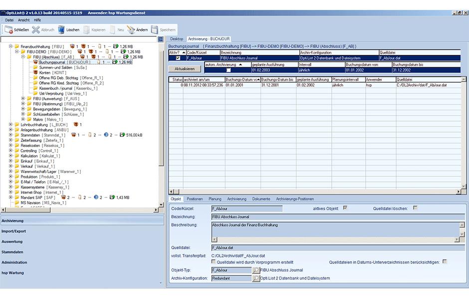 Opti.List-Archivierungsübersicht