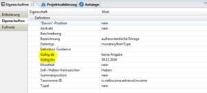 Eigenschaften der Positionen-Screenshot