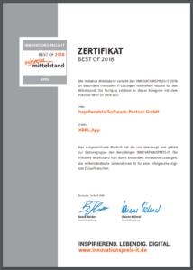 Innovationspreis IT Zertifikat Best of 2018